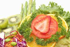 close up fusion fruit salad,vetgetable and fruit salad - stock photo