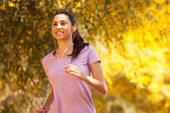 young beautiful woman jogging - stock photo
