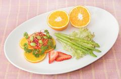 fusion salad,vetgetable and fruit salad - stock photo