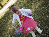 Toddler on easter egg hunt Stock Photos