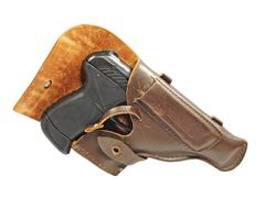 Stock Photo of black pistol in holster.