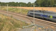 Stock Video Footage of A SNCF TGV Atlantique high-speed train in France.