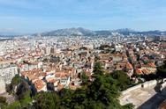Panoramic aerial view on marseille from mountain Stock Photos