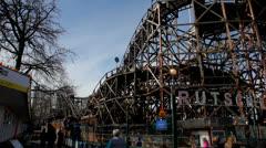Old wodden roller coaster Stock Footage