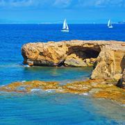 punta de sa pedrera coast in formentera, balearic islands, spain - stock photo