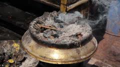 Ritual aroma sticks in Nepal - stock footage