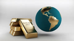 Gold bars and  turning gold globe Stock Footage
