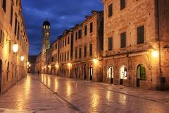 Old town at night, dubrovnik, croatia Stock Photos