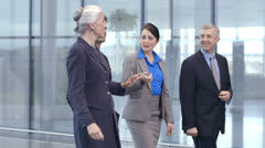 Diverse group of business people walking through a light modern office space - stock footage