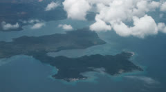 164 Philippine islands, ocean and clouds from airplane - stock footage