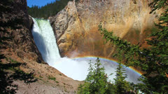 Rainbow at Lower Falls - Yellowstone Stock Footage