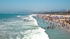 Time Lapse of Busy Santa Monica Beach - 4k Stock Footage