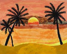 tropical sunset painting - stock photo