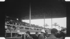 Horse racing stands. (Vintage 1940's 16mm film footage). Stock Footage
