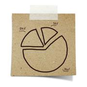 hand draw pie chart graph on note taped recycle paper - stock photo