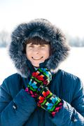 Anna smiling on the frozen lake Stock Photos