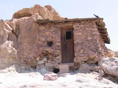 Little house in ghosttown Calico in USA - stock photo