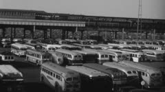 Parking Lot 1940s. (Vintage 1940's 16mm film footage). - stock footage