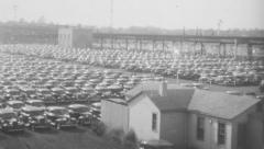 Parking Lot 1940s. (Vintage 1940's 16mm film footage). Stock Footage