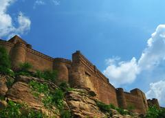 "jodhpur, india: the great mehrangarh fort in jodhpur, the ""blue city"",  in th - stock photo"