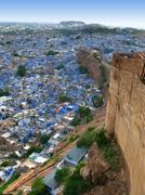 "jodhpur, india: view of the amazing ""blue city"" from the great mehrangarh for - stock photo"