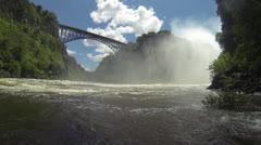 "WS ""boiling pot"" looking up at Victoria falls bridge Stock Footage"