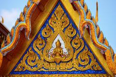 the old pattern gable  in Temple of the Emerald Buddha  of Thailand - stock photo