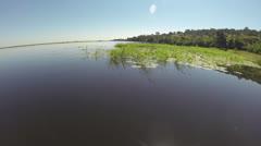 Slow track across Zambezi River Stock Footage
