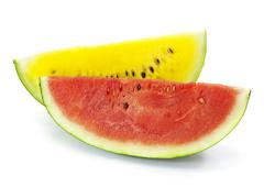slice of red and yellow water-melon on a white background - stock photo