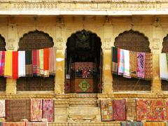 "beautiful textile handcrafts in the fort of jaisalmer, the magnificent ""golde - stock photo"