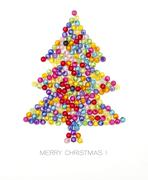 christmas tree decorate by colorful beads on white background - stock photo