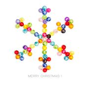 Christmas snowflake decorate by colorful beads on white background Stock Photos