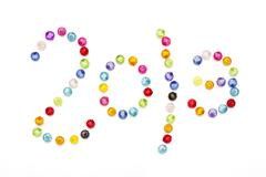 happy new year 2013 decorate by colorful beads on white background - stock photo