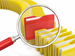 Files search. folders and loupe on white background. Stock Illustration
