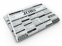Stock Illustration of search job. newspaper with advertisments.