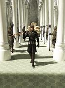 Keskiaikainen tai Fantasy Spearmanin kävelemällä Throneroom Piirros