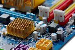 computer mainboard - stock photo