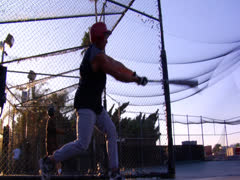 Stock Video Footage of Baseball Batting Cage Golden Hour Sport Sports Footage Professional Ball Player