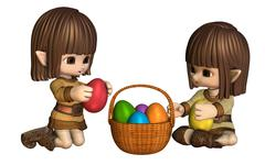 Cute Toon Easter Elves with Basket of Eggs Stock Illustration