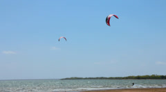 Kite Surfers on Ray Roberts I Stock Footage