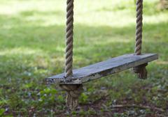 swing hanging in garden - stock photo