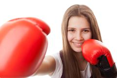 Punch, boxing - women Stock Photos