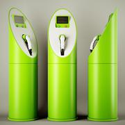 green fuel: group of charging stations - stock photo