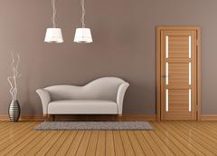 Brown living room with white sofa Stock Illustration