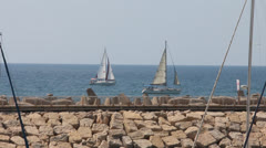 Mediterranean sea, sky and yachts Stock Footage