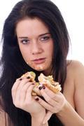 Beautiful woman with sandwich Stock Photos