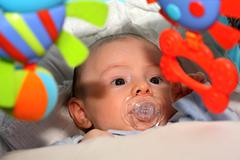 baby boy with big blue eyes - stock photo