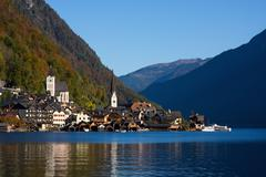 hallstatt, small town in alp - stock photo