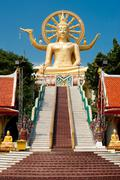 big golden buddha statue in wat phra yai temple. koh samui island, thailand - stock photo
