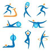 icons sport fitness - stock illustration